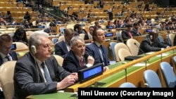 Мустафа Джемилев на заседании Генассамблеи ООН, 18 декабря. Фото Рустема Умерова