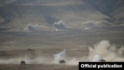 Nagorno-Karabakh - Tanks fire live rounds during a military exercise, 23Oct2012.