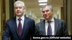 Мэр Москвы Сергей Собянин и спикер Думы Вячеслав Володин