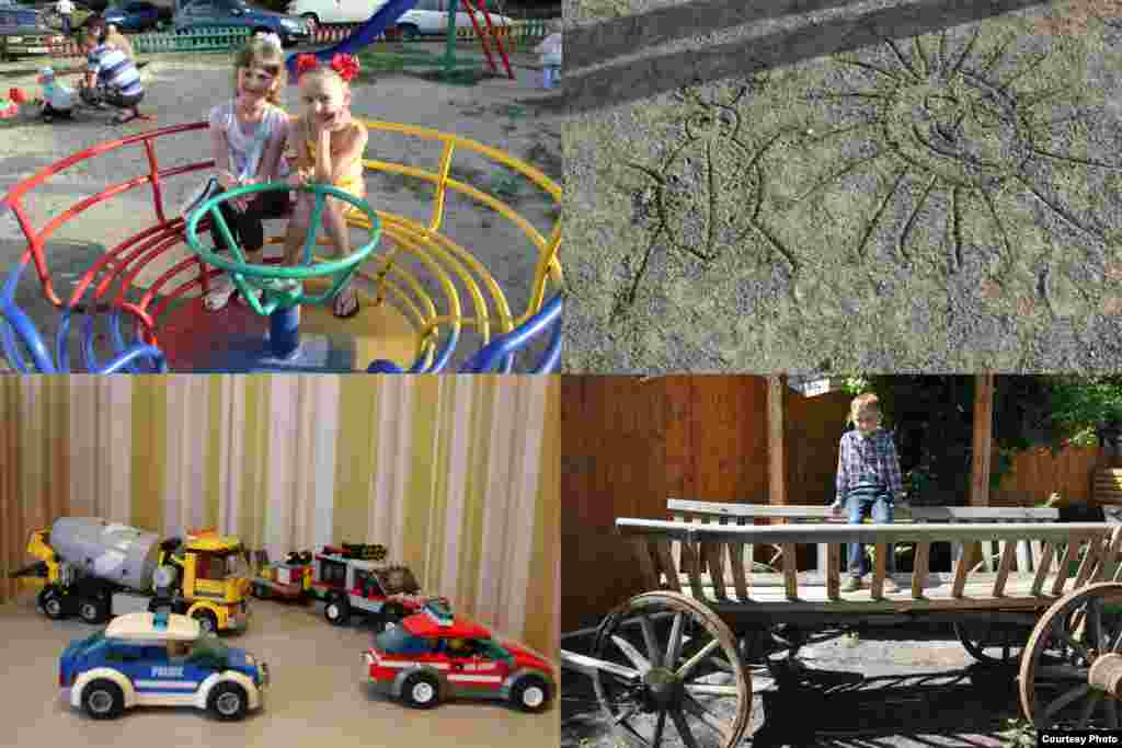 Bohdan, a 9-year-old boy from Ukraine, took photos of his friends Lera and Dasha at the playground; a sand drawing of a sun and a ladybug; his friend Dania posing on a wooden wagon; and his favorite Lego toys.