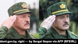Зьлева Аляксандар Лукашэнка на фота з president.gov.by, справа на фота Сяргея Гапона для AFP