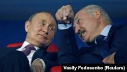 Владимир Путин и Александр Лукашенко на церемонии закрытия Европейских игр 2019 года. Стадион «Динамо», Минск, Беларусь, 30 июня 2019 года.