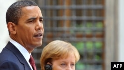 U.S. President Barack Obama and German Chancellor Angela Merkel at a meeting in Dresden on June 5.