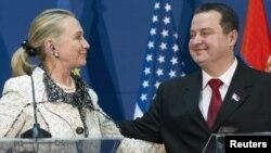 Hilari Klinton i Ivica Dačić na konferenciji za novinare u Beogradu, 30. oktobar 2012.