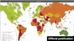 """Карта """"Индекса экономической свободы 2013"""", составленная Heritage и Wall Street Journal"""