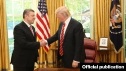 Georgian Prime Minister Giorgi Kvirikashvili meets with U.S. President Donald Trump at the White House on May 8.