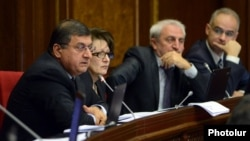 Armenia - Aram Manukian (second from right) and other deputies from the Armenian National Congress attend a parliament session in Yerevan, 21 October 2013.