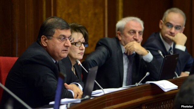 Armenia - Gagik Jahangirian (L) and other deputies from the Armenian National Congress attend a parliament session in Yerevan.