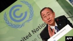 Генералниот секретар на ОН, Бан Ки-Мун зборува на отворањето на климатската конференција во Дурбан.