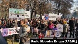 Архивска фотографија-Протест против загадувањето во Скопје