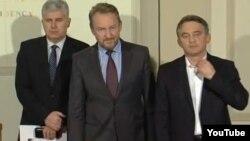 Lideri tri koalicione stranke u Federaciji BiH, Dragan Čović, Bakir Izetbegović i Željko Komšić