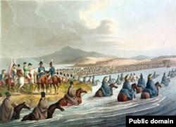 Войска Наполеона I переравляются через реку Неман, начав поход в Россию, предопределивший конец Первой империи. Июнь 1812 года