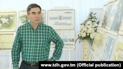 Turkmenistan. President Gurbanguly Berdimuhamedov inspects the construction objects in Ashgabat.