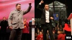 Лидерот на ВМРО-ДПМНЕ Никола Груевски и лидерот на СДСМ Зоран Заев на предизборен митинг, комбинирана фотографија