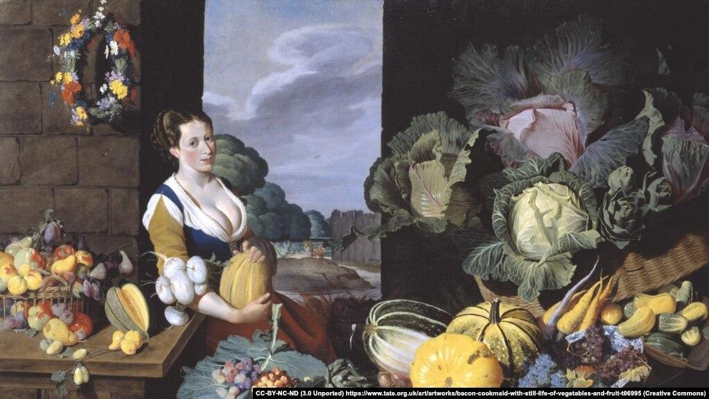 Натаниэль Бэйкон «Кухарка с натурмортам овощей и фруктов» (1620-25)