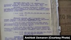 Украинада 1938-жылы атылган кыргызстандыктардын аты жөнү жазылган архивдик материал