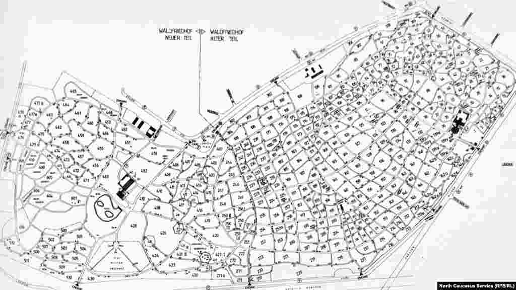 План-схема Лесного кладбища, мусульманский сектор закреплен за номерами 271 и 271а