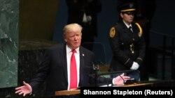 Presidenti i SHBA-së, Donald Trump gjatë fjalimit të tij në Asamblenë e Përgjithshme të Kombeve të Bashkuara.
