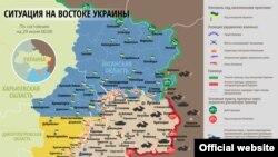 Донбасстагы согуш жүрүп жаткан аймактардын картасы. 29-июль 2015