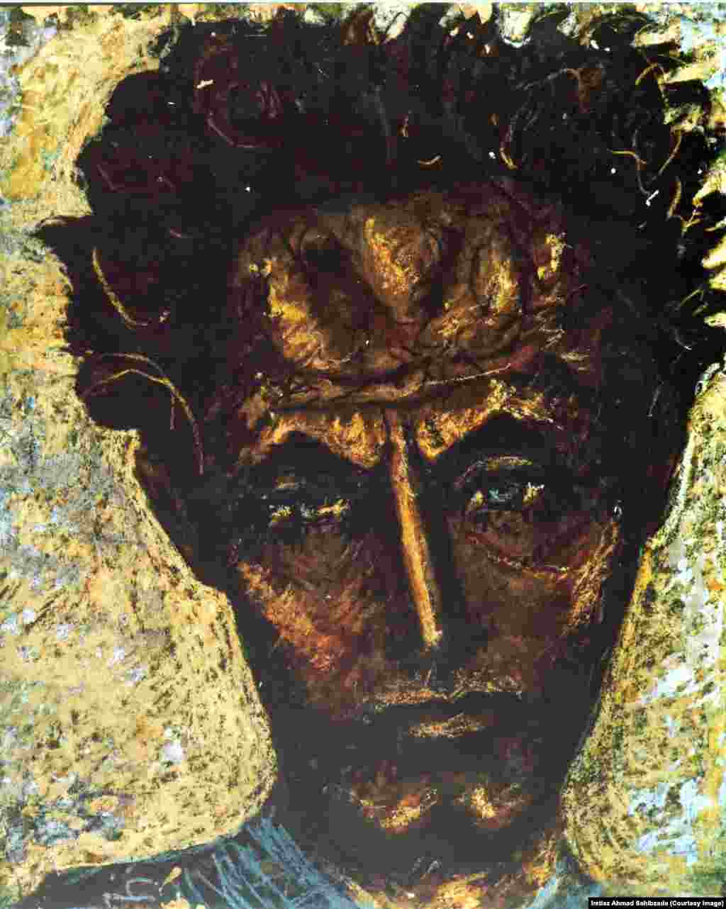 Self-portrait, depicting a tortured soul with a crown of thorns around his head.