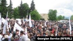 Митинг сторонников «Грузинской пратии» в Кварели