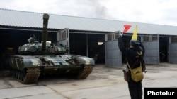 Armenia - A battle tank at an Armenian military base, 27Nov2013.
