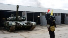 Armenia - A battle tank at an Armenian military base, 27Nov2013.