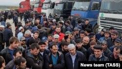 Протест дальнобойщиков в Дагестане, 7 апреля 2017 г.