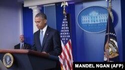 ԱՄՆ - Նախագահ Բարաք Օբաման Սպիտակ տանը ասուլիսի ժամանակ, արխիվ