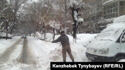 Многие регионы Казахстана накрыл сильнейший снегопад. Алматы, 20 ноября 2016 года.