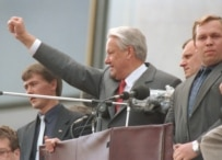 Yeltsin leading a Moscow rally to celebrate the end of the August 1991 coup attempt (TASS)