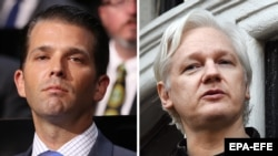 Donald Trump Jr. (left) and WikiLeaks founder Julian Assange (combo photo)