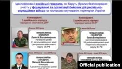 Командующие корпусами в Донбассе российские генералы, инфографика СНБО Украины