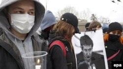 Убитого в Москве адвоката Станислава Маркелова вспоминали и возле российского посольства в Киеве