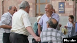 Armenia -- Pensioners protest outside the main government building in Yerevan, undated.