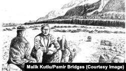 Памирлик кыргыздар качкындар лагеринин жанында отурушат, Пакистан. (Малик Кутлу тарткан сүрөт)