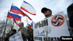 تظاهرات طرفداران پیوستن به روسیه در کریمه