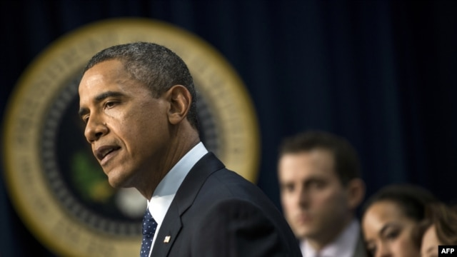 U.S. President Barack Obama makes a statement about the so-called fiscal cliff negotiations from the White House on December 31.