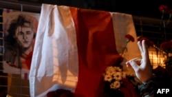 Акция памяти Романа Бондаренко недалеко от дома в Минске, где он жил