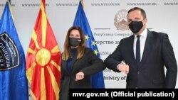 Амбасадорката на САД, Кејт Мери Брнз, и министерот за внатрешни работи, Оливер Спасовски - Скопје 16 април 2021