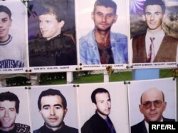 Albion Kumnova and other disappeared Kosovars on the wall of the missing in Pristina (file photo)