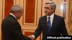 Armenia - President Serzh Sarkisian meets with outgoing Prosecutor General Aghvan Hovsepian, Yerevan,12Sep2013