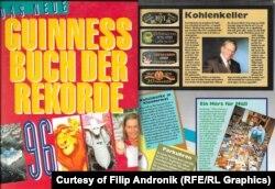 Guinnessova knjiga rekorda za 1996. godinu u kojoj se nalazi i Filipov rekord sa najvećom zbirkom ambalaže iz humanitarne pomoći koju je skupljao tokom opsade Sarajeva 1992-96.