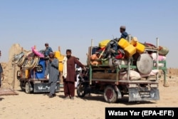 Displaced families returning to their villages in Helmand.
