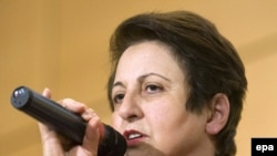Ebadi speaks during events in Geneva on December 10 to mark Human Rights Day.
