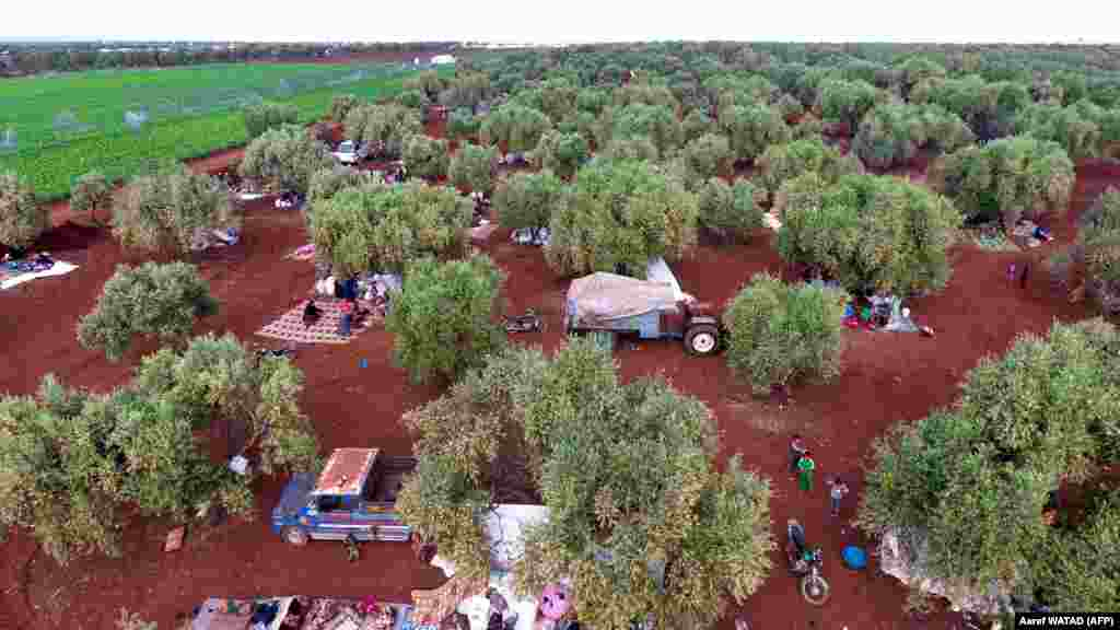 An aerial view shows displaced Syrians gathering in a field near a camp for displaced people in the village of Atme, in the jihadist-held northern Idlib Province (AFP/Aaref Watad)