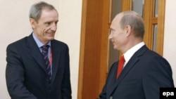 Жан-Клод Килли и Владимир Путин в Сочи, сентябрь 2008 года