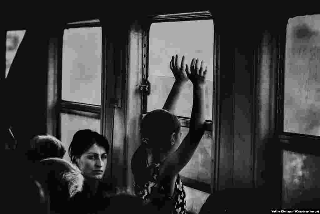 Passengers ride on the Tbilisi-Kutaisi route.