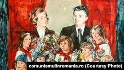 Nicolae şi Elena Ceauşescu în mijlocul unui grup de pioneri şi şoimi ai patriei (pictat de Cornelia Ionescu Drăguşin; oferit de Consiliul Naţional al Pionerilor; 1981); Sursa: comunismulinromania.ro (MNIR)
