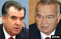 Тәжікстан президенті Эмомоли Рахмон (сол жақта) мен Өзбекстан президенті Ислам Каримов.